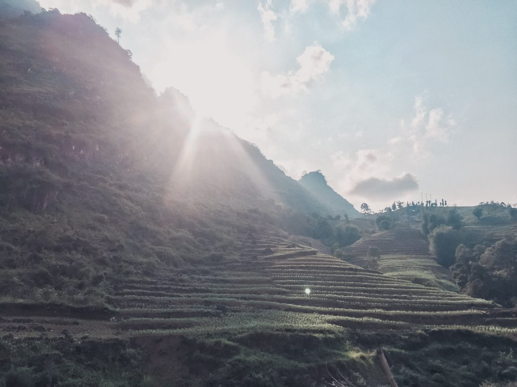 Sun is peaking out behind a mountain, shining onto the rice terraces of the Ha Giang Loop.