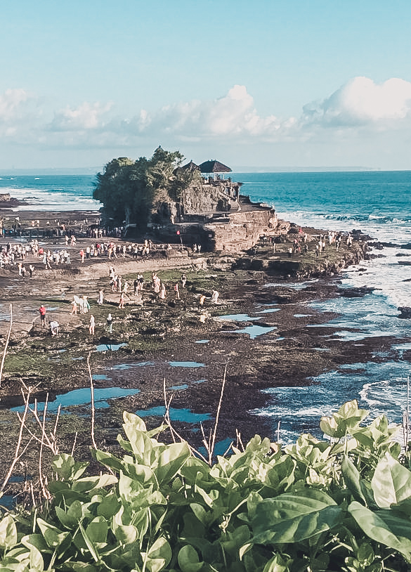Picture of Tanah Lot during low tide. Keep in mind the tides when planning your day trip to Tanah Lot!